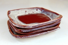 Square Dessert or Bread Plate in Red Agate
