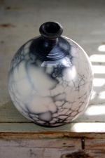 Marbled Naked Raku Bottle