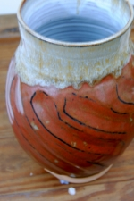 Large Faceted Rustic Red Vase