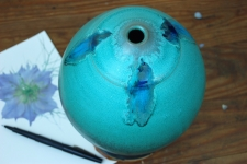 Turquoise Bottle with Blue Pressed Glass