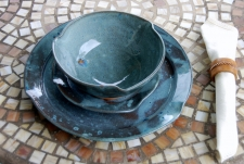 Round Slate Blue Dinnerware Place Setting