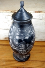 Marbled Raku Lidded Jar or Urn