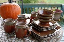 Dinnerware Set for Four in Brownstone