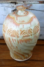 Large Carved Sunbrst Jar