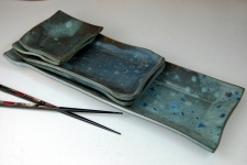 5 Piece Sushi Plate and Platter Set in Slate Blue