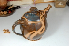 Slate Blue Teapot with Rust Chain