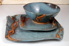 Slate Blue with Rust Chain Place Setting
