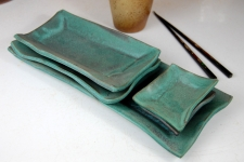 5 Piece Sushi Plate and Platter Set in Turquoise
