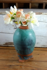 Turquoise and Rust Flower Vase
