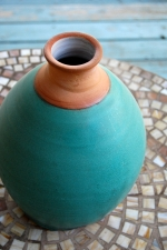 Large Turquoise and Rust Bottle