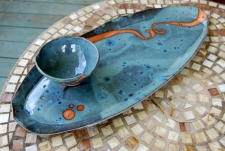 Bread Platter and Dipping Bowl Set in Slate Blue with Rust Waves