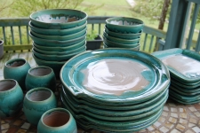 Eclectic Dinnerware Set for Eight Place Settings in Turquoise - Handmade to Order - Pick up Only