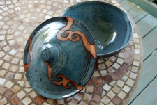 Covered Serving Bowl in Slate Blue with Rust Waves