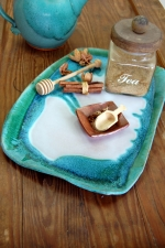Large Serving Platter in Turquoise and White