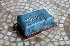Covered Butter Dish in Slate Blue with Sun Texture