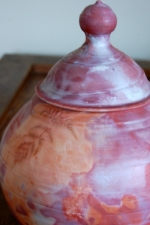 Fiery Fern Lidded Jar, Raku Pottery Urn