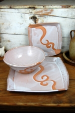 Shale with Rust Waves Dinnerware Place Setting - Handmade to Order - Pick up Only