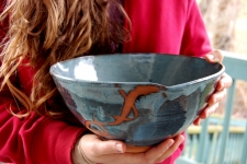 Large Serving Bowl or Mixing Bowl in Slate Blue with Rust Chain