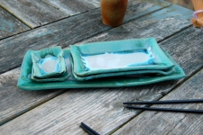 5 Piece Sushi Plate and Platter Set in Turquoise and White
