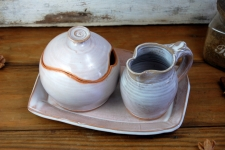 Shale Creamer And Sugar Bowl Set with Tray - Handmade to Order