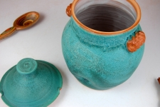 Kitchen Canister or Honey Jar in Turquoise - Handmade to Order