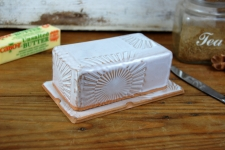 Covered Butter Dish in Shale with Sun Texture - Handmade to Order