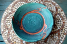 Huge Platter in Turquoise with Rust Waves
