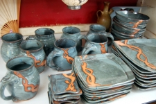 Service for Eight in Slate Blue with Rust Chain Dinnerware Set