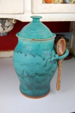 Large Kitchen Canister in Turquoise - Handmade to Order