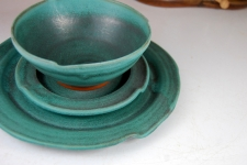 Round Dinnerware Place Setting in Turquoise