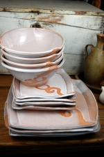 Dinnerware Set of Four Place Settings in Shale with Rust Waves