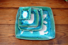 Square Plate Set in Turquoise and White