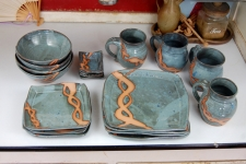 Service for Four in Slate Blue with Rust Chain Dinnerware Set - Handmade to Order - Pick up Only