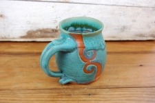 Turquoise Mug with Rust Waves