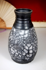 Elegant Black and White Marbled Raku Vase