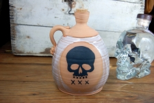 Corked Whiskey Jug with Skull - Handmade to Order