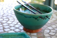 Noodle Bowl or Ramen Bowl in Turquoise and White