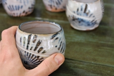 Stemless Wine Glass or Drinking Glass in Rising Sun Pattern