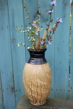 "Large 16"" Amber Ash and Black Glazed Vase - IN STOCK"