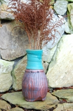Large Carved Turquoise and Rust Flower Vase