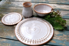 Four Piece Peaked Dinnerware Place Setting in Shale - Handmade to Order - Pick up Only