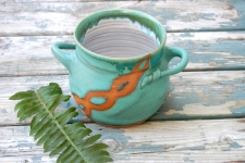 Utensil Holder in Turquoise with Rust Chain - Handmade to Order