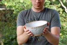 Ridged Serving Bowl in Shale