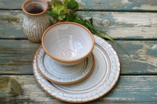 Four Piece Ridged Dinnerware Place Setting in Shale
