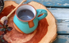 Turquoise Mug with Geometric Rust Design - Handmade to Order