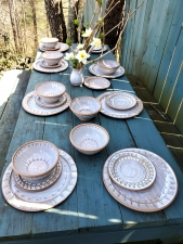 Peaked Dinnerware Set of 8 Place Settings in Shale - Handmade to Order - Pick up Only