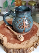 Huge Slate Blue Tree of Life Mug - Handmade to Order