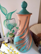 Huge Turquoise Splash Lidded Jar- IN STOCK