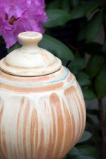 Lidded jar or urn in Sunburst